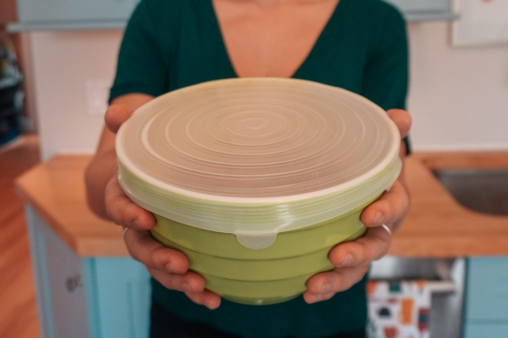 reusable stretch lids on small bowl